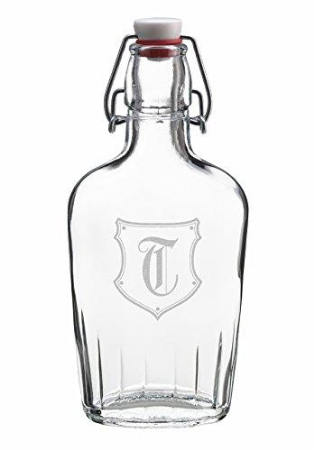 Lillian Rose Glass Growler Monogram T Flask