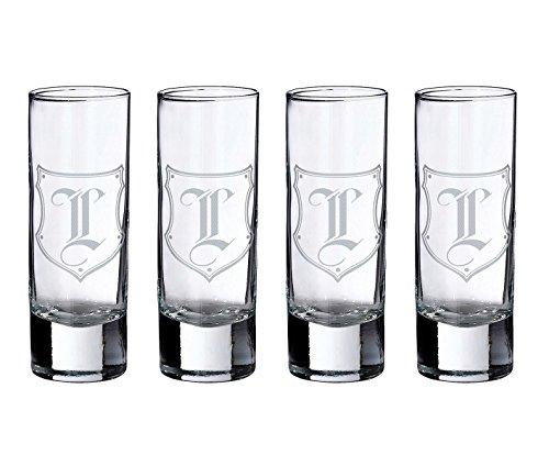 Lillian Rose Personalized Set of 4 Monogram Letter L Shot Glasses