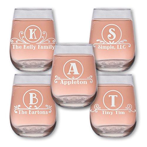 Monogram Circle 17oz Stemless Wine Glass one 6 Styles w your Custom Text