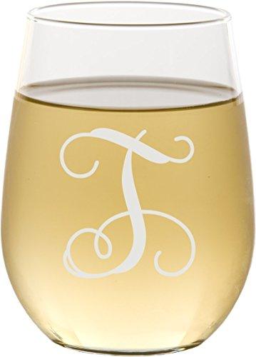 Personalized Script Monogram Stemless Wine Glass - SG06