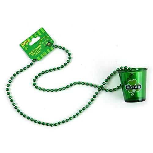 FLOMO St Patricks Day Shot Glass Necklace