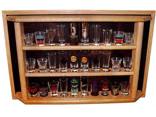 30 Shot GlassShooter Display Case - Enclosed Cabinet Rack Holder Natural