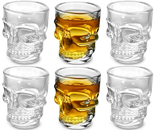 KOVOT Skull Shot Glasses Set of 6 15 oz Clear