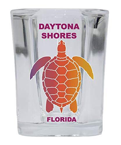 Daytona Shores Florida Souvenir Rainbow Turtle Design Square Shot Glass 4-pack
