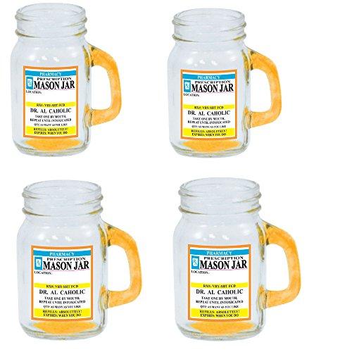Mason Jar Shot Glass 4 Ounce with Handle - Funny Novelty Prescription Bottle Design with Handle Shot Glass Tumbler 4