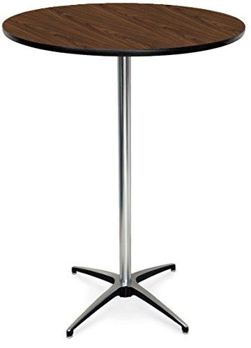 McCourt 72000LMW Laminate Pedestal Table 36 Diameter x 42 H x 28 Base Pedestal Montana Walnut