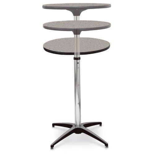 McCourt 72018LGG Laminate Pedestal Table 24 Diameter Telescopic Grey Glace