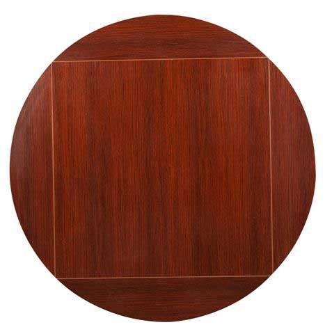Oak Street Pedestal Table 36 x 36 square to 51 dia round top 1 thick black PC - MB36FLIP51MS