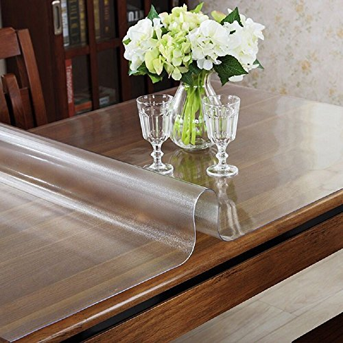 OstepDecor Custom 15mm Thick Frosted Plastic Table Cover Protector Desk Pad for Glass Top Coffee End Dining Table Multi-Size  Rectangular 354 x 72 Inches