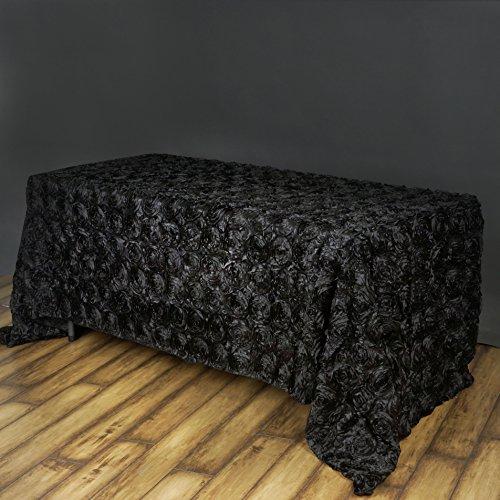 Efavormart Rosette Rose Pattern Rectangle Tablecloth 90x132 - Black Tablecloth