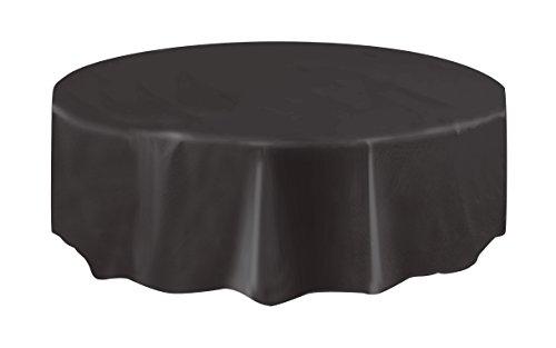 Round Black Plastic Tablecloth 84