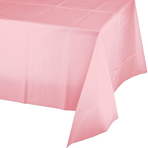 12-Pack Disposable Plastic Tablecloths 54 x 108 Rectangle Table Cover PINK