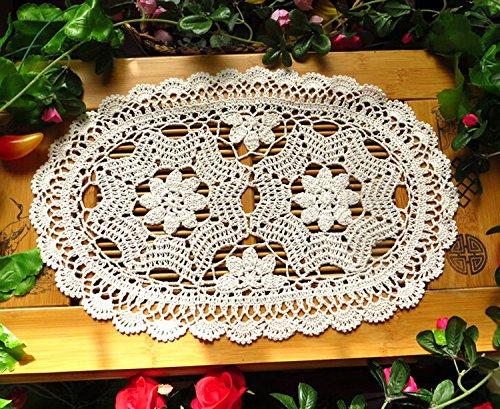 Laivigo New Handmade Crochet Lace Oval Table Placemat Doilies Doily12 x 20 InchBeige2pcs
