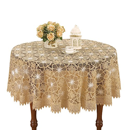Simhomsen Beige Embroidered Lace Tablecloth For Dining Table 60 By 102 Inch Oval