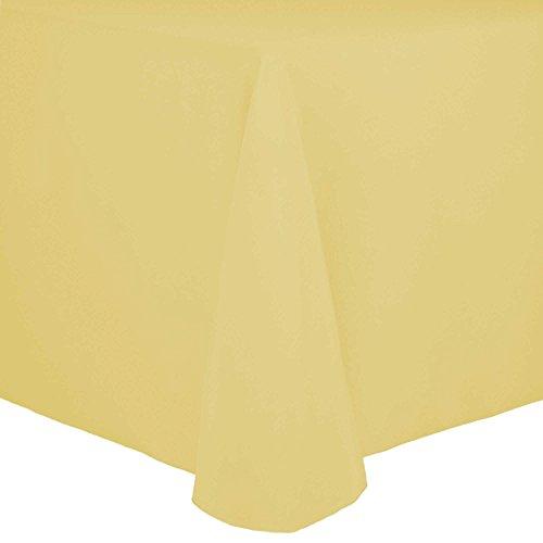 Ultimate Textile Cotton-feel Spun Polyester 60 x 84-Inch Oval Tablecloth Cornsilk Light Yellow