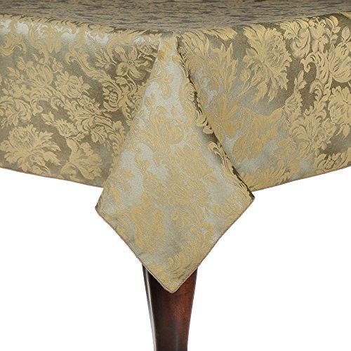 Ultimate Textile Vintage Damask Miranda 60 x 84-Inch Oval Tablecloth Sage Green