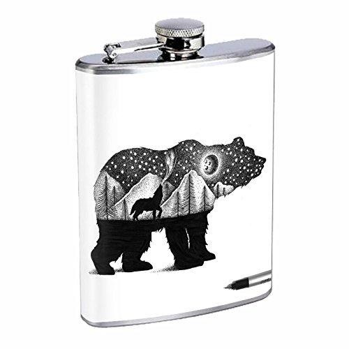 Bear Art Black Hip Flask Stainless Steel 8 Oz Silver Drinking Whiskey Spirits E1