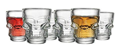 Set of 6 Skull HALLOWEEN SKULLShot Clear Glasses for Drinking Whiskey Liquor Party 2 Oz