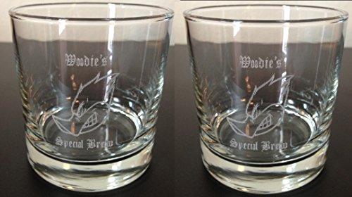 2 Custom Engraved  Etched Old Fashioned Whiskey Rocks Glasses Set