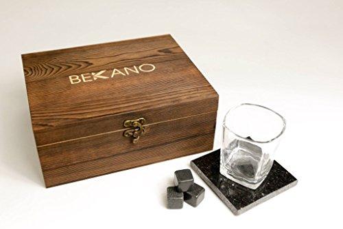 Whiskey Stones Gift Set - Reusable Cooling Stones - 6 Granite Whiskey Rocks 2 Crystal Whiskey Glasses 2 Granite Coasters Velvet Bag - Premium Bar Accessories by Bekano Brands