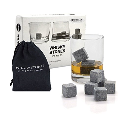 Whiskey Stones Yummy Sam Reusable Ice Stone Chilling Rocks Cubes in Gift Box with Carrying Pouch Set of 9 for Whiskey Bourbon Wine or Other Spirits