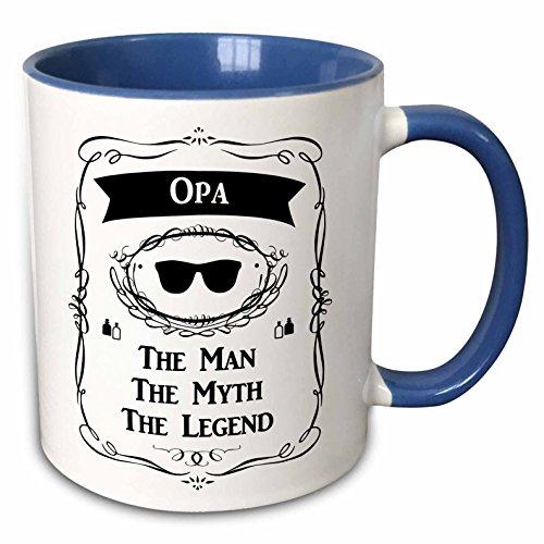 3dRose InspirationzStore The Man The Myth The Legend - Opa The Man The Myth The Legend funny - word for grandpa in German - 11oz Two-Tone Blue Mug mug_232467_6