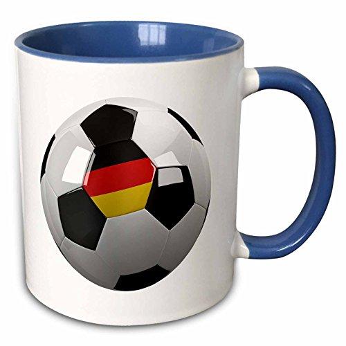 3dRose mug_157029_6 Soccer Ball with The National Flag of Germany On It German Two Tone Blue Mug 11 oz BlueWhite