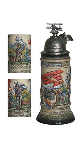 German Beer Stein Red Baron Stein relief bumper 05 liter tankard beer mug ZO 19429015