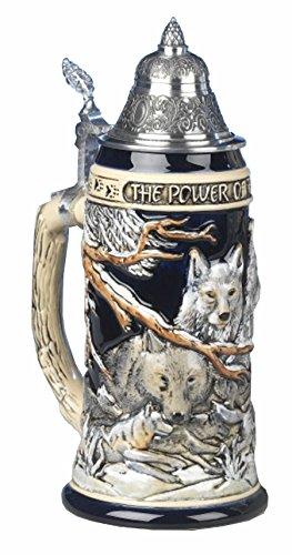 German Beer Stein the power of the Wolf Pack Relief Stein 075 liter tankard beer mug KI 955 075L