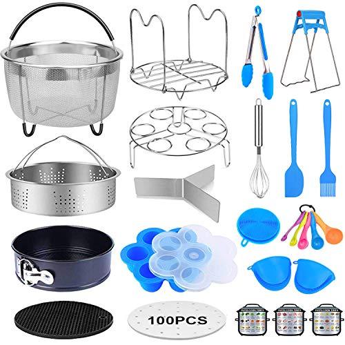 20 Pcs Pressure Cooker Accessories Compatible with 568 Qt Instant Pot Steamer Basket Kitchen Tong Plate Gripper Egg Beater Springform Pan Egg Steamer Rack