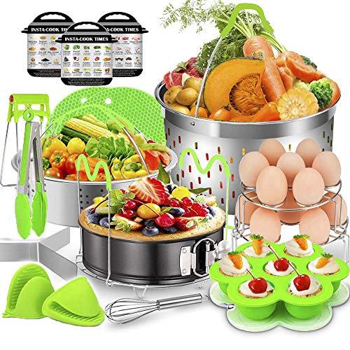 Pressure Cooker Accessories Set 15 Pcs Compatible with Instant Pot Accessories 68 Quart - 2 Steamer Baskets Springform Pan Stackable Egg Steamer Rack Egg Beater Kitchen Tongs More