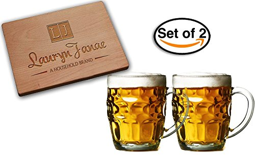 Lauryn Janae Premium Glassware 195oz Jumbo Size Dimple Brewmasters Homebrewers Beer Lovers Glass Beer Stein Beer mug Tankard Mugs or TeaCoffee Drinkware Set of 2