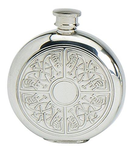 Stylish Slimline 6oz Round Polished Pewter Handcast Bottle Pocket Hip Flask Featuring Celtic Quadrant Insert