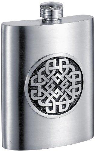 Visol Aragon Celtic Design Pewter Flask 6-Ounce Chrome