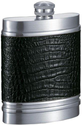Visol Jase Leather on Pewter Flask 6-Ounce Black