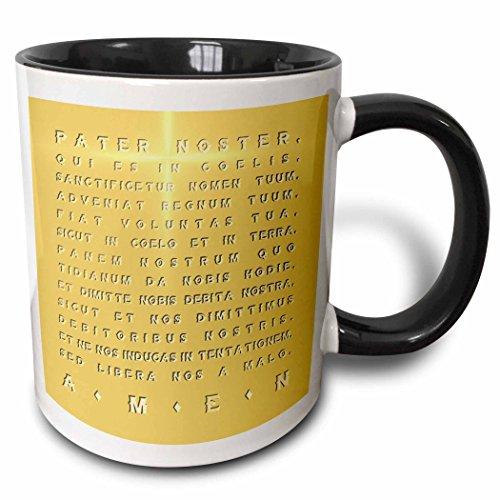 3dRose The Lords Prayer- Gold Effect Latin Text with Crucifix Highlight - Two Tone Black Mug 11oz mug_220779_4 11 oz BlackWhite