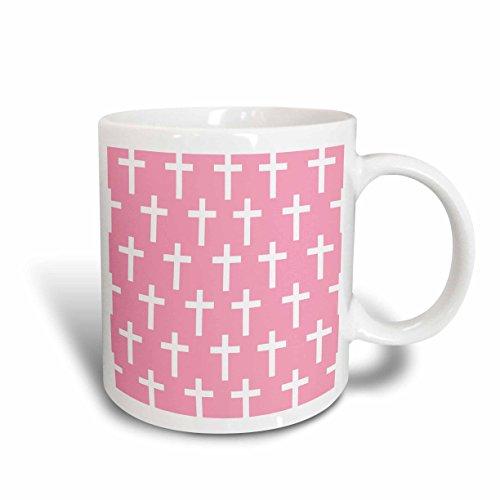 3dRose mug_185496_2 Pink Christian Cross Pattern with White Religious Crucifix Crosses Ceramic Mug 15-Ounce White