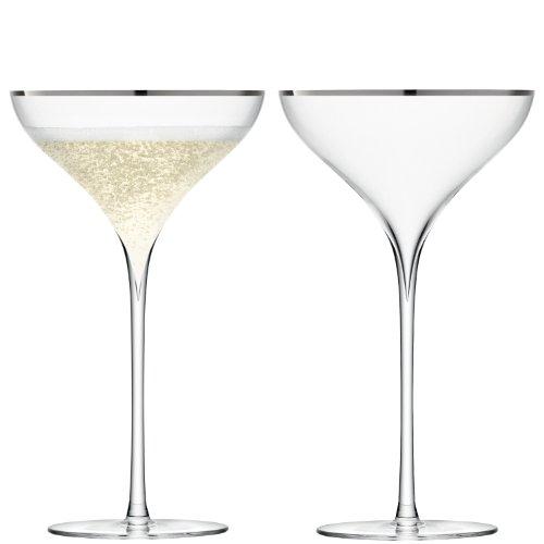 LSA International Savoy Champagne Saucer Glass Clear 250 ml Set of 2