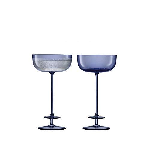 LSA International Theatre Champagne Saucer 71 fl oz TierMidnight Blue Set of 2