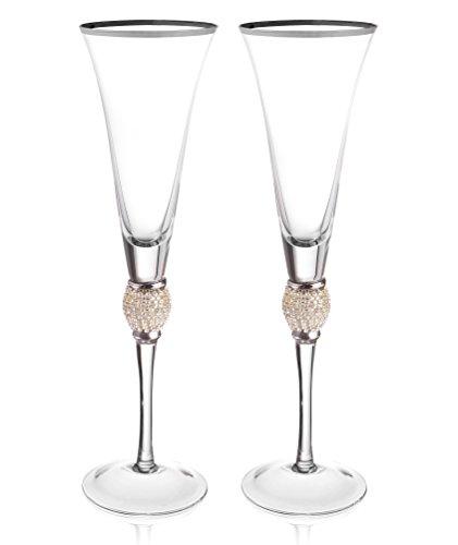 Trinkware Set of 2 Champagne Flutes - Rhinestone DIAMOND Studded Glasses With Silver Rim - Long Stem 7oz 11-inches Tall – Elegant Glassware And Stemware