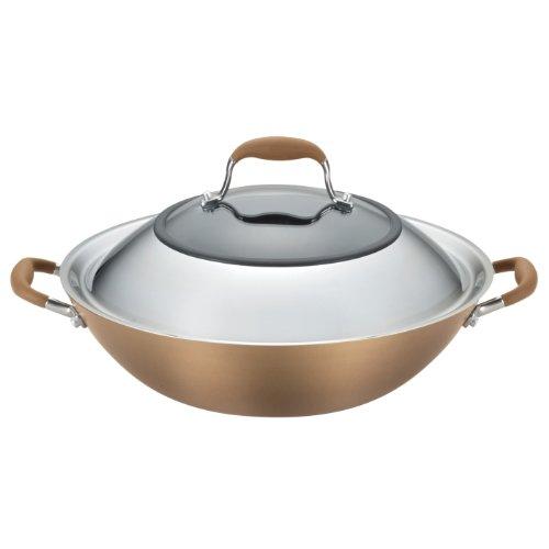 Anolon Advanced Bronze Hard-anodized Nonstick 14-inch Covered Wok, Bronze