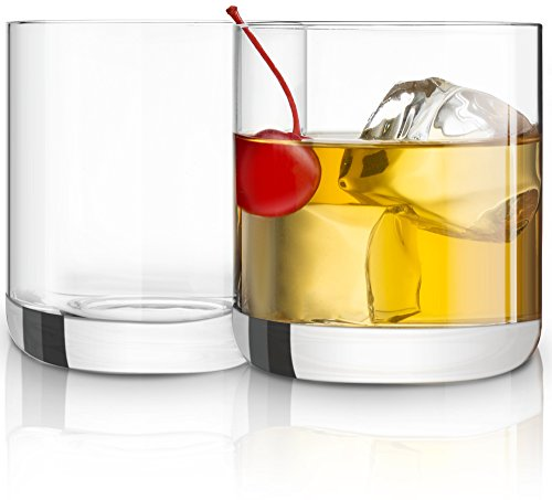 JoyJolt Nova Non-leaded Crystal Old Fashioned Whiskey Glasses Excellent For Cocktail Bourbon Rocks Tumbler Glass 10 Ounce Bar Glassware Set of 2