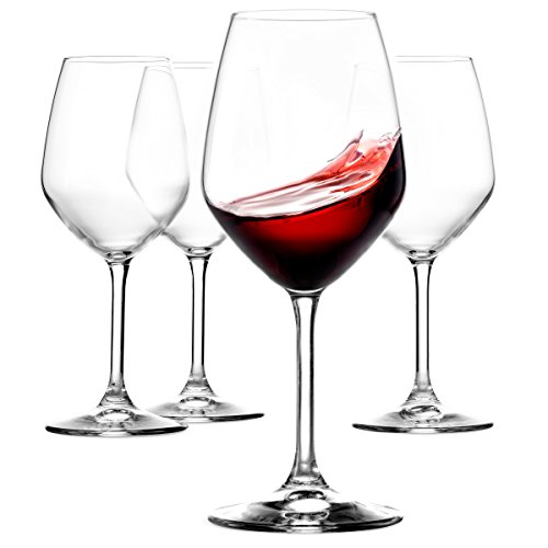 Paksh Novelty Italian Red Wine Glasses - 18 Ounce - Lead Free - Wine Glass Set of 4 Clear