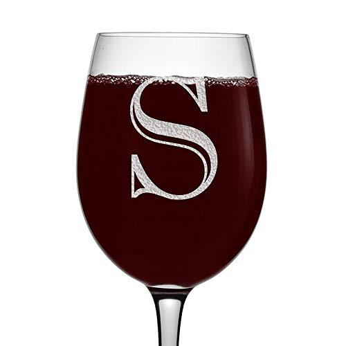 Etched Monogram 16oz Stemmed Wine Glass Letter S