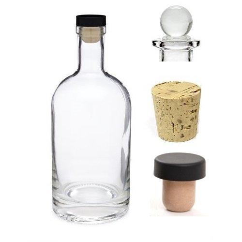 Nakpunar 12 oz Heavy Base Glass Liquor Bottle with T-Top Synthetic Cork with Bonus Glass Bottle Stopper and Regular Bottle Cork