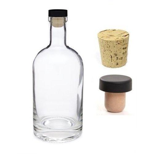 Nakpunar 25 oz Heavy Base Glass Liquor Bottle with T-Top Synthetic Cork with Bonus Regular Bottle Cork