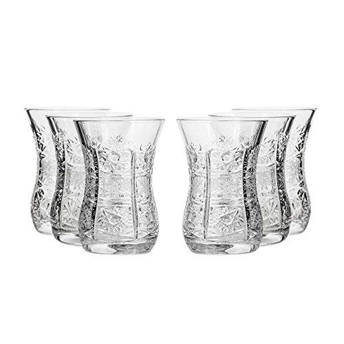 Set of 6 Neman Glassworks 5-Oz Hand Made Vintage Russian Crystal Turkish Tea Glasses Liquor Glasses Old-fashioned Glassware