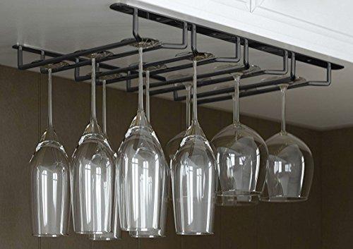 JMiles Under Cabinet Hanging Stemware Rack Hold Up To 12 Wine Glasses Black