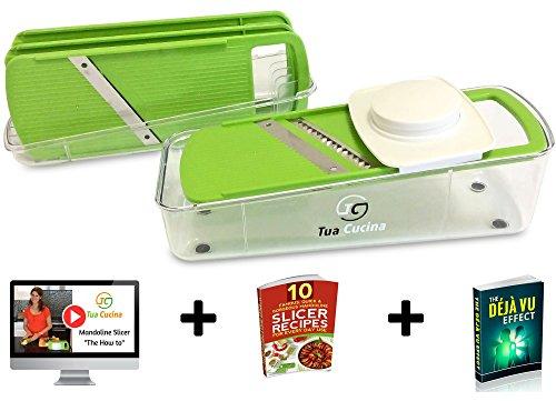 Mandoline Slicer - Vegetable Slicer Best For Potato, Onion & Carrot. Mandolin Food Slicer Works As Cheese Grater