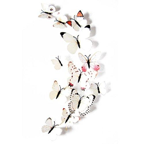 Transer Wall Stickers Decal Butterflies 3D Mirror Wall Art Home Decors 12pcs A